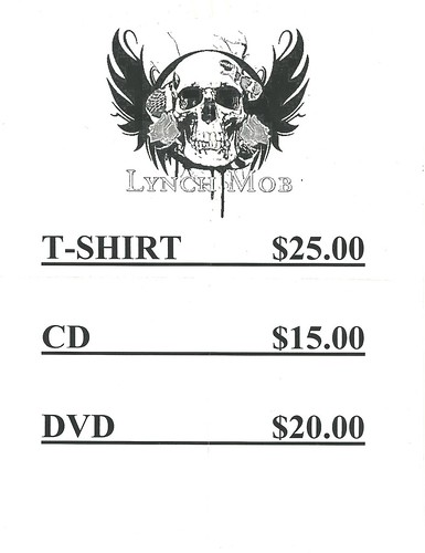 11-20-11 Lynch Mob @ Neisen's, Savage, MN (Merch Booth Price Sheet)