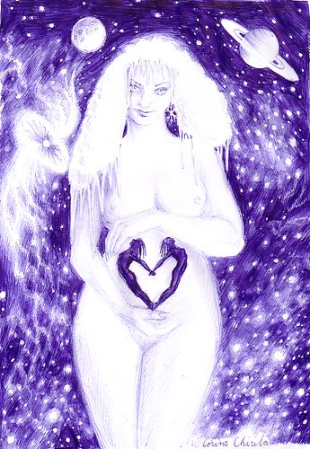 O regina de gheata ocrotind doua suflete indragostite desen de iarna  in pix