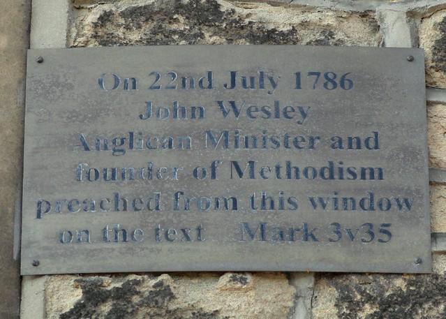 Photo of John Wesley grey plaque