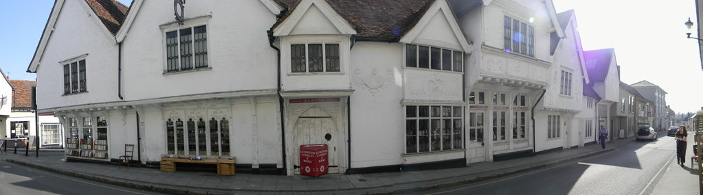 The Sun Inn, Saffron Walden The Sun Inn as never seen before - bent round a corner . My camera's panoramic feature does this to objects that are too near. Oliver Cromwell's headquarters during the Civil War. Ornate pargeting. Great Chesterford to Newport