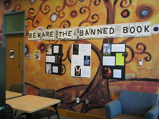 Brentwood PL Banned Books Week display