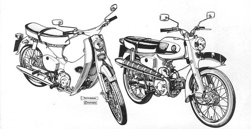 Honda C100 and C110 by Lawrence Peregrine-Trousers