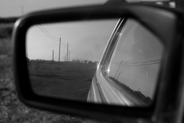 Dungeness in the rear view mirror may appear closer than it is.. from Flickr via Wylio