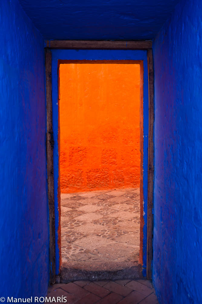 Arequipa, Peru, entrance painted blue and orange