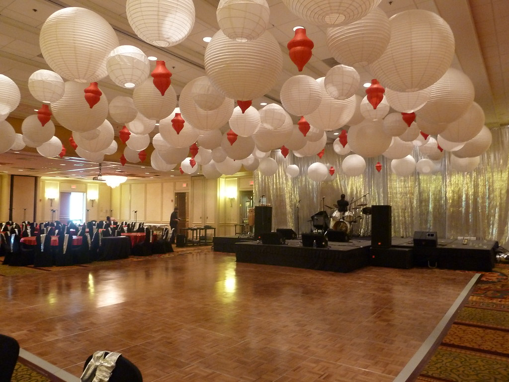 Paper Lantern Ceiling Decorations At A Corporate Event At