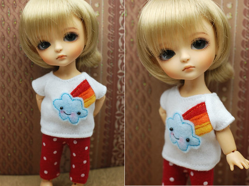 Latidoll yellow short sleeve tee - happy rainbow cloud