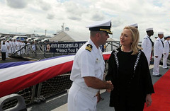 MANILA (Nov. 16, 2011) Secretary of State Hillary Clinton is greeted by Cmdr. Brian Mutty, commanding officer of the the guided-missile destroyer USS Fitzgerald (DDG 62) upon her arrival aboard the ship in Manila Bay to sign the Manila Declaration, commemorating the 60th anniversary of the Philippines-U.S. Mutual Defense Treaty. (U.S. Navy photo)