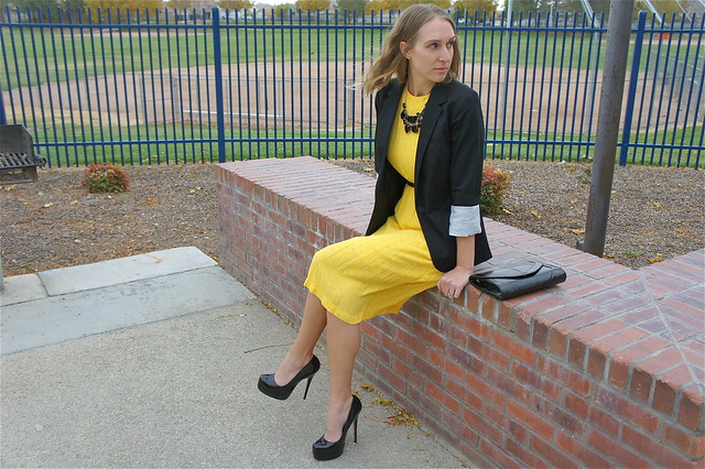 Yellow dress with black