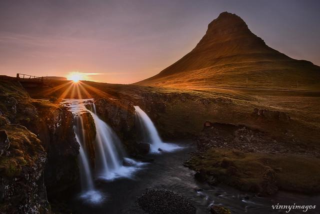 Setting sun in Iceland