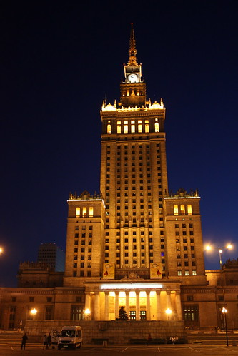 The spectacular Palace of Culture and Science lit up.