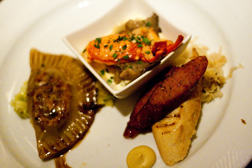 Lobster Gnocchi, Braised Short Rib Pierogie, and Grilled Strip District Kielbasa at Braddock's American Brasserie