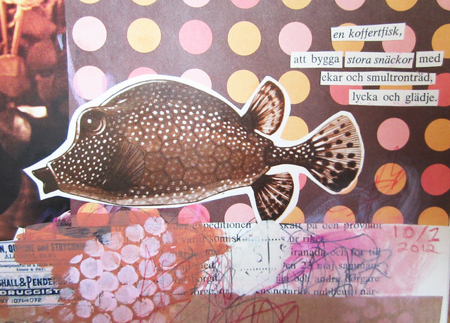 Art Journal detail: fish and poetry