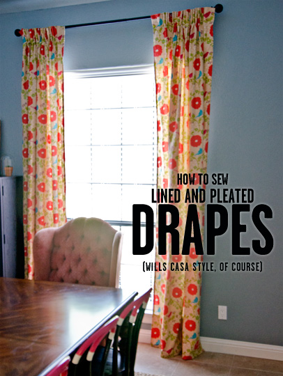 how to sew lined pleated drapes wills casawills casa. Black Bedroom Furniture Sets. Home Design Ideas