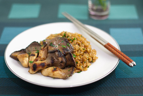miso grilled mushrooms + buttered farro