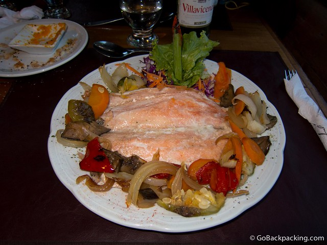 Trout with a citric sauce and vegetables