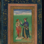 Album of Persian and Indian calligraphy and paintings, Jahāngīr giving a cup of wine to a young woman, Walters Manuscript W.668, fol.40b