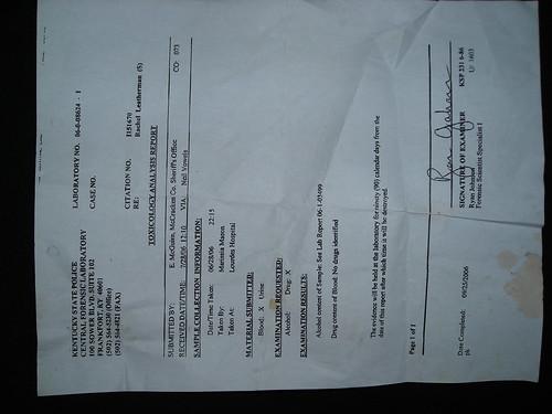 Exculpatory drug test result