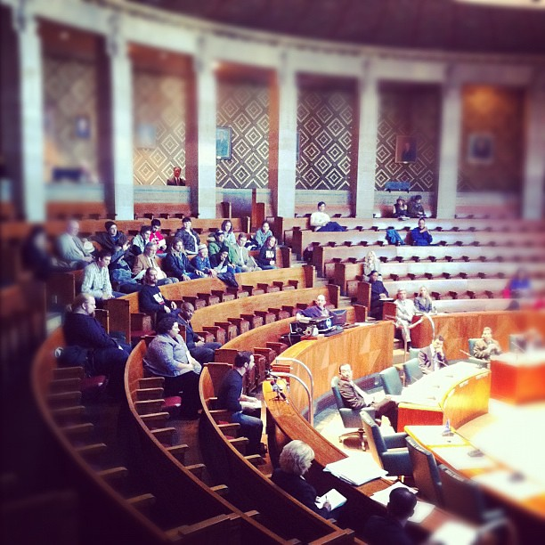 #OccupyBuffalo testifying in front of the Common Council about a proposal to end the City's business w/ Chase bank.