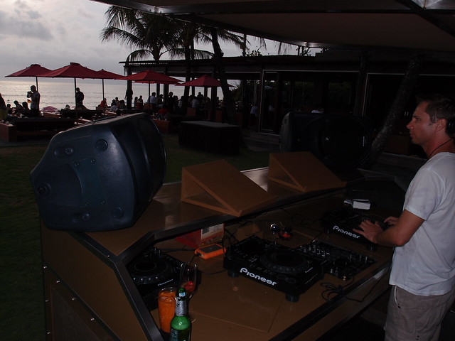 Ku De Ta radio DJ at beach bar - Bali Indonesia