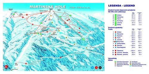 Martinky - mapa sjezdovek