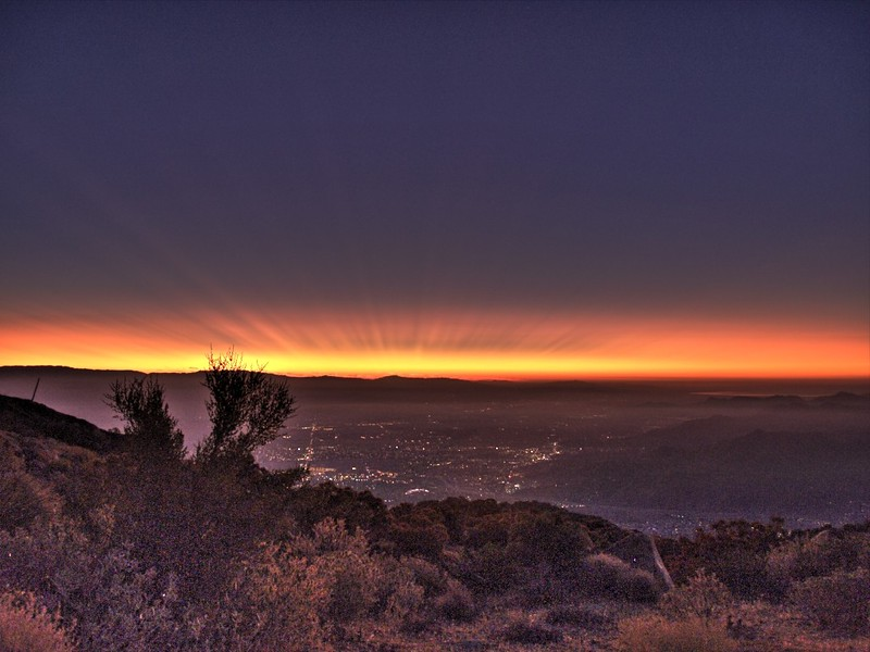 Skyline Trail - 4500ft - Sunrise over Palm Springs - HDR