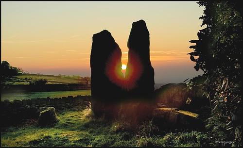 sunset standingstones nikon cheshire mystical staffordshire neolithic monumental congleton burialchamber thebridestones d5100 blinkagain thebosleycloud