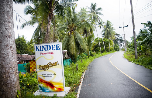 Quiet road and entrance to Kin Dee Restaurant