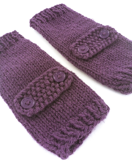 Knitting Pattern For Fingerless Mittens With Flap : Button Flap Fingerless Mitts Purple Flickr - Photo Sharing!