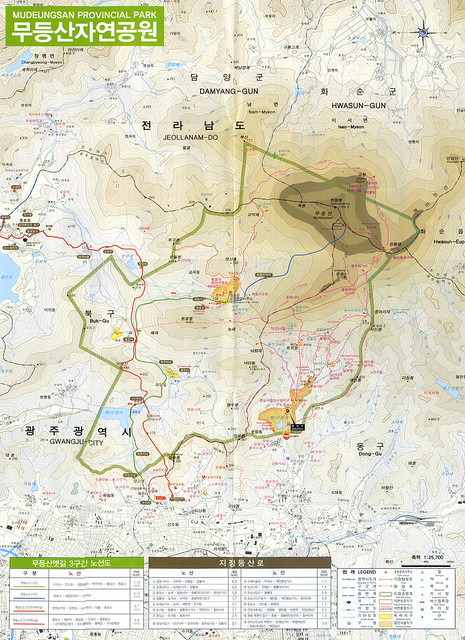 Mudeungsan Hiking Route Map