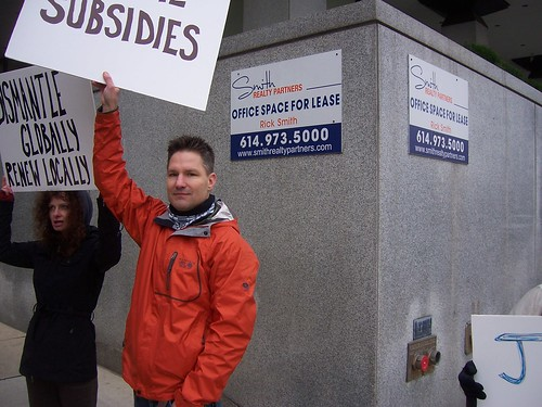 Mark and Dawn Bonfield of Occupy Anchorage join Occupy Columbus to protest against oil subsidies
