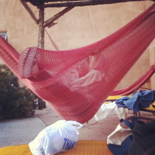 Look! @mickarooh in a hammock cocoon! #latergram