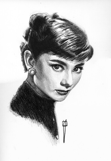 Audrey Hepburn  finished drawing.