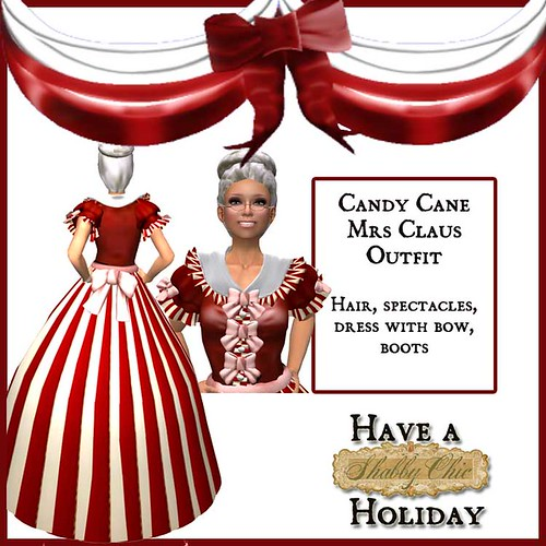 Shabby Chic Candy Cane Mrs. Claus - Santa's Wife by Shabby Chics