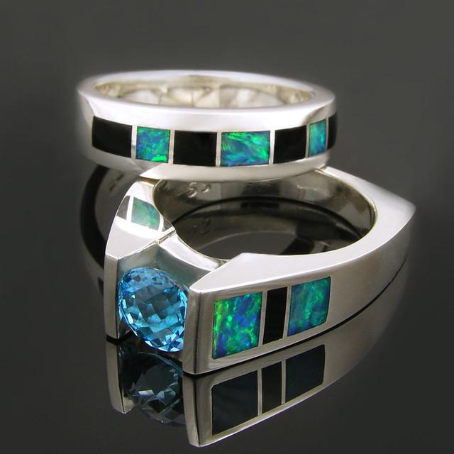 Australian Opal and Black yx Wedding Ring Set Styles CS013 M200