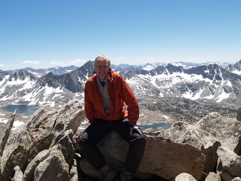 Me on the Sierra Crest west of Bishop Pass looking down into Dusy Basin
