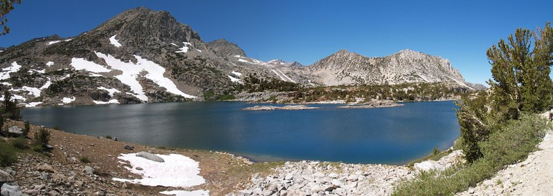 Bishop Pass Trail - Saddlerock Lake panorama