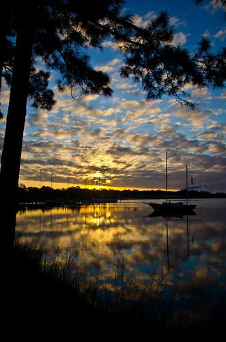 morning november water clouds sailboat sunrise reflections bay florida pinetrees mattgerlachphotography