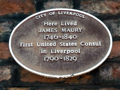 Photo of James Maury brown plaque