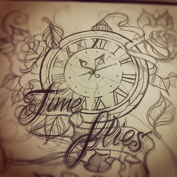 Time Flies Tattoo Design Sketch Timeflies