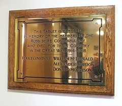 War Memorial Dingwall Police Station Ross and Cromarty Scotland