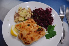 Schnitzel, Potato Salad, Braised Red Cabbage - pla…