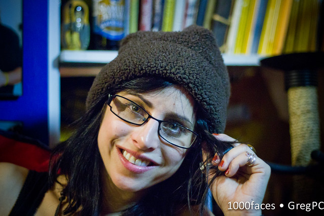 Face - cute woman with fuzzy hat and glasses