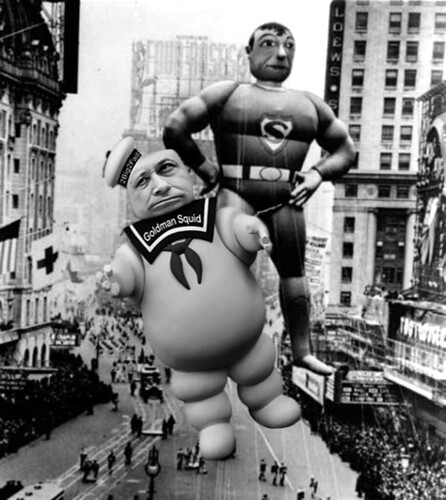 GOLDMAN SQUID BALLOON AT TIMES SQUARE by Colonel Flick