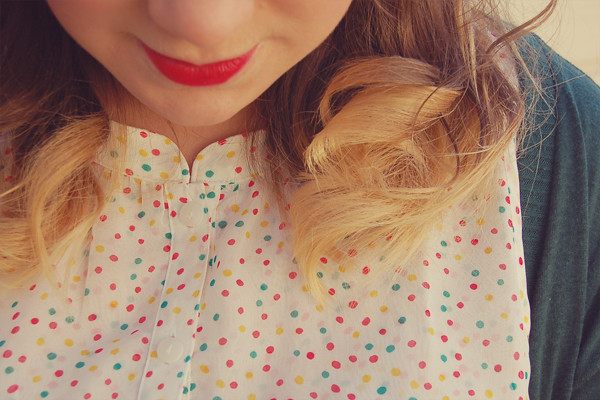 Wardrobe Block : Forever21 polka dot shirt, urban outfitters green cardigan, MAC ruby woo