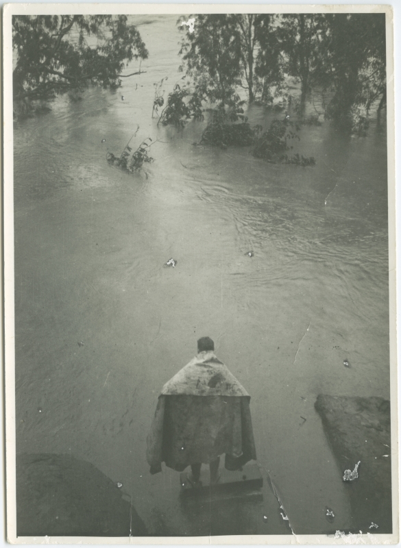 Photograph of Kim Durack at Carlton Reach with the Ord River in Flood, January 1942
