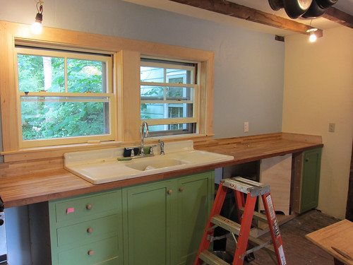 wood trim added in kitchen!!