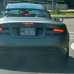 "Aston Martin DB9, with Massachusetts ""FP 1"" Fenway Park license plate"