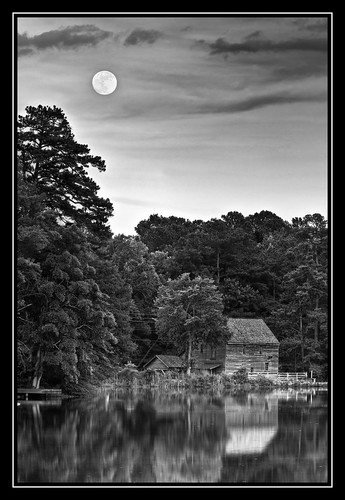 blackandwhite bw moon mill monochrome nc northcarolina raleigh historic fullmoon moonrise moonlight mills hdr gristmill photomatix yatesmill 3xphdr hdraddicted