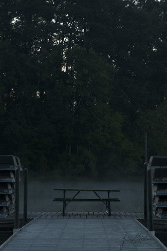 mist lake fog sunrise dock picnictable lakebenson