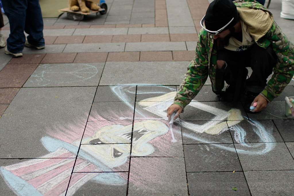 occupy seattle - chalk art